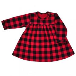 Dojčenské bavlnené šatôčky Koala Checkered červeno-čierne Červená