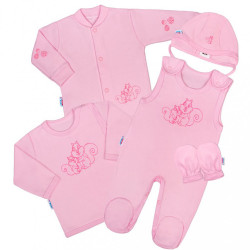 5-dielna súpravička New Baby Veveričky ružová