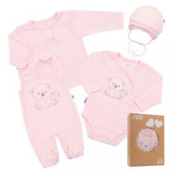 Dojčenská súprava do pôrodnice New Baby For Sweet Bear ružová ružová