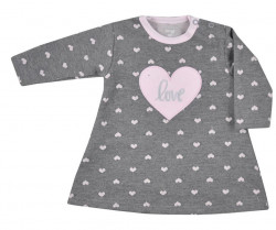 Dojčenské šatôčky s dlhým rukávom Koala Jessica sivo-ružové ružová