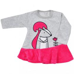 Dojčenské semiškové šatôčky Koala Veverička ružovo-sivé ružová