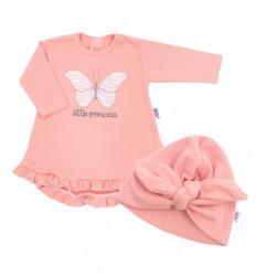 Dojčenské šatôčky s čiapočkou-turban New Baby Little Princess ružové ružová
