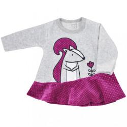 Dojčenské semiškové šatôčky Koala Veverička fialovo-sivé fialová