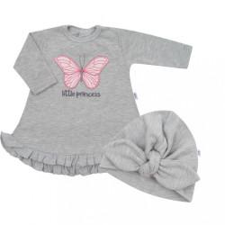 Dojčenské šatôčky s čiapočkou-turban New Baby Little Princess sivé sivá