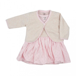 Dojčenské bavlnené šatôčky s bolerkom Koala Dots ružové ružová