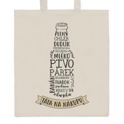 Bavlnená nákupná taška prírodná s potlačou New Baby Táta na nákupu