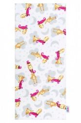 Bavlnená plienka s potlačou New Baby biela s ružovou žirafou