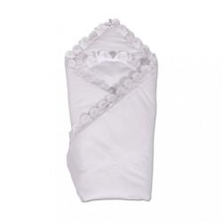 Bavlnená zavinovačka s krajkou New Baby biela