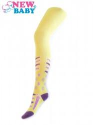 Bavlnené pančucháče New Baby žlté s pruhmi a kvietky