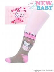 Bavlnené pančucháčky New Baby ružovo-sivé s mačičkou