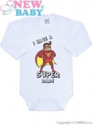Body s potlačou New Baby SUPER FAMILY, SUPER DAD Červená
