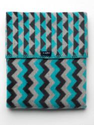 Detská bavlnená deka so vzorom Cik-Cak Womar 75x100 grafitovo-sivo-tyrkysová podľa obrázku