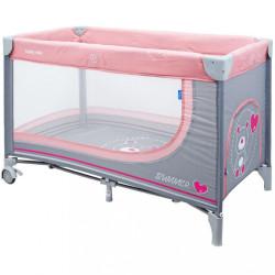 Detská cestovná postieľka Baby Mix Medvedík pink ružová