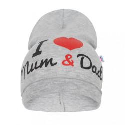Detská čiapočka New Baby I Love Mum and Dad sivá