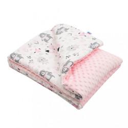 Detská deka z Minky s výplňou New Baby Medvedíkovia ružová 80x102 cm