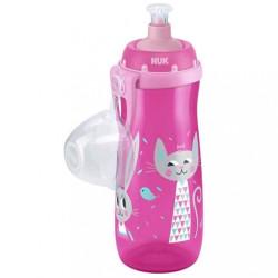 Detská fľaša NUK Sports Cup králiček a mačička 450 ml ružová