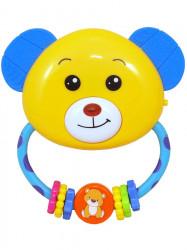 Detská hrkálka s melódiou Baby Mix medvedík Žltá