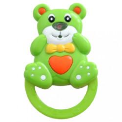 Detská hrkálka so zvukom Baby Mix Medvedík zelená