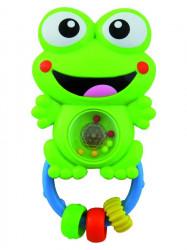 Detská hrkálka so zvukom Baby Mix žaba zelená