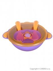Detská miska s lyžičkou a vidličkou Akuku fialová