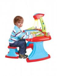 Detská obojstranná tabuľa s projektorom a stoličkou Bayo + príslušenstvo 93 ks modrá