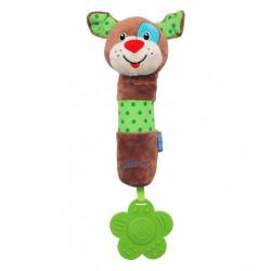 Detská pískacia plyšová hračka s hrkálkou Baby Mix pes podľa obrázku