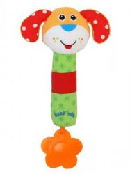 Detská pískacia plyšová hračka s hrkálkou Baby Mix psík podľa obrázku