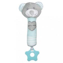 Detská pískacia plyšová hračka s hryzátkom Baby Mix medveď mätový zelená