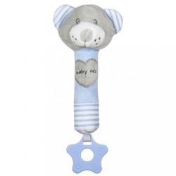 Detská pískacia plyšová hračka s hryzátkom Baby Mix medveď modrý
