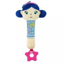 Detská pískacia plyšová hračka s hryzátkom Baby Mix námorník dievča blue modrá