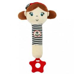 Detská pískacia plyšová hračka s hryzátkom Baby Mix námorník dievča Červená