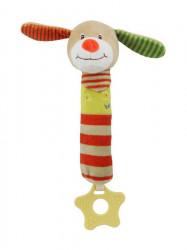 Detská pískacia plyšová hračka s hryzátkom Baby Mix psík podľa obrázku