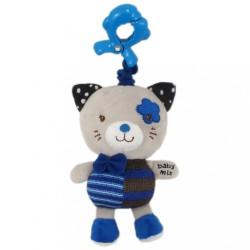 Detská plyšová hračka s hracím strojčekom Baby Mix mačička modrá