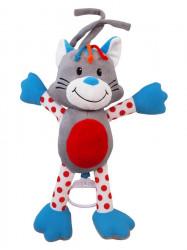 Detská plyšová hračka s hracím strojčekom Baby Mix mačka sivá