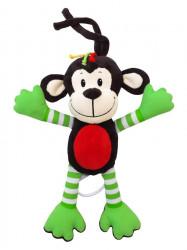 Detská plyšová hračka s hracím strojčekom Baby Mix opice zelená hnedá