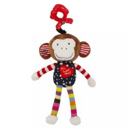 Detská plyšová hračka s hracím strojčekom Baby Mix opička červená