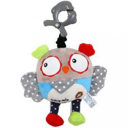 Detská plyšová hračka s hracím strojčekom Baby Mix Sova sivá