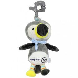 Detská plyšová hračka s hracím strojčekom Baby Mix Tukan sivý
