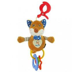 Detská plyšová hračka s hrkálkou Baby Mix liška modrá