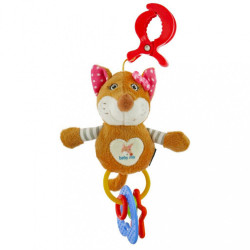 Detská plyšová hračka s hrkálkou Baby Mix liška ružová