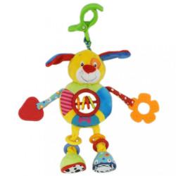 Detská plyšová hračka s hrkálkou Baby Mix psíček zelená