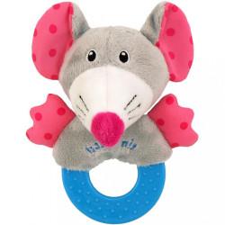 Detská plyšová hrkálka Baby Mix myška ružová
