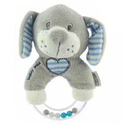 Detská plyšová hrkálka Baby Mix psík modrý