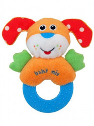Detská plyšová hrkálka Baby Mix psík oranžová