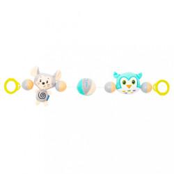 Detská plyšová hrkálka do kočíka Baby Mix myš a sova podľa obrázku