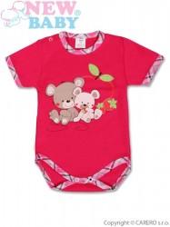 Detské body s krátkym rukávom New Baby Myšky s Jahôdkou ružová