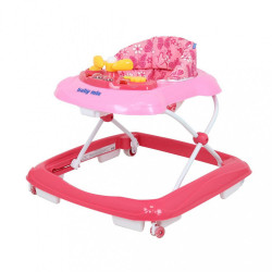 Detské chodítko Baby Mix s volantom a siikónovými kolieskami dark pink ružová