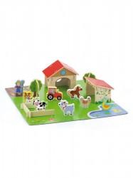 Detské drevené 3D puzzle Viga Farma multicolor