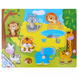 Detské drevené puzzle s úchytkami Baby Mix Africa podľa