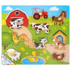 Detské drevené puzzle s úchytkami Baby Mix Dedina podľa
